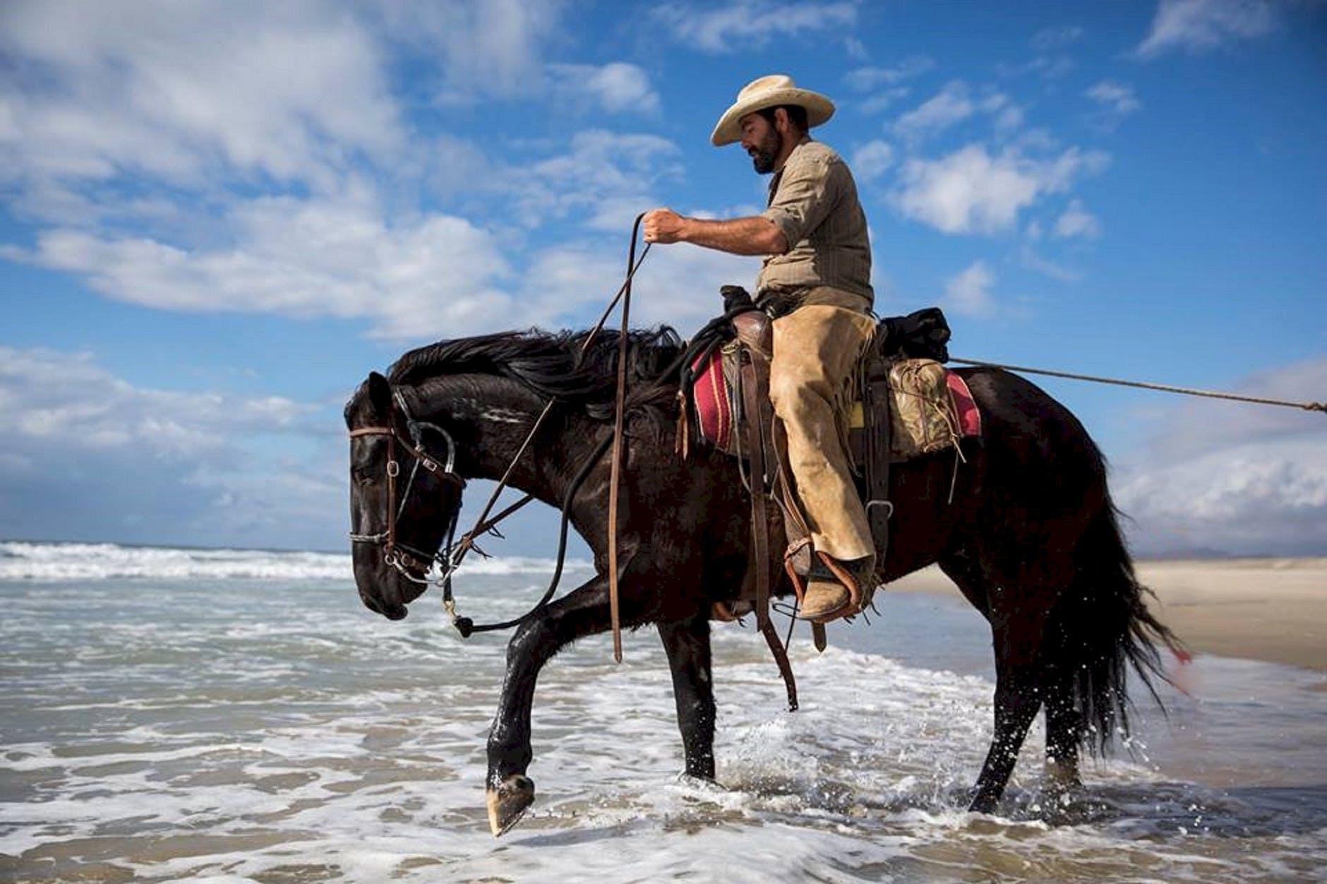 man riding horse on the beach