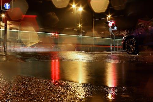 Imagine de stoc gratuită din autoturisme, dupa ploaie, expunere lungă, mașini