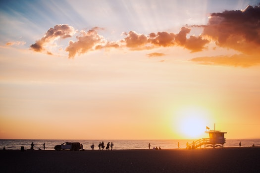 Free stock photo of sky, sunset, beach, people
