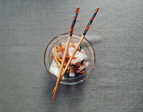 Brown Wooden Chopsticks On Clear Glass Bowl