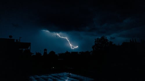 Lightning Over The Dark Sky