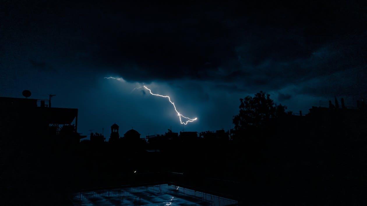 Lightning Over The Dark Sky