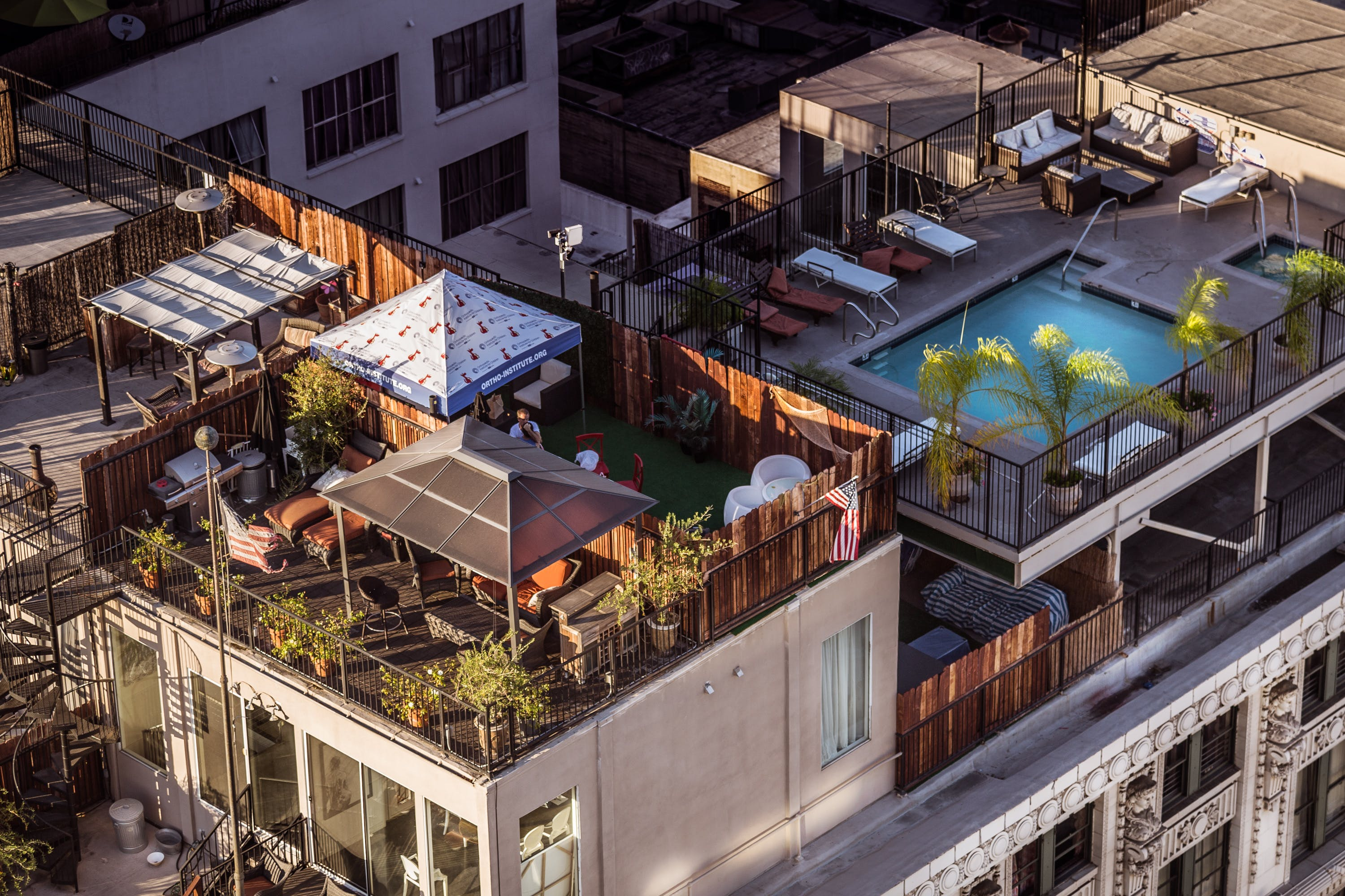 Eagle Eye View of Condominium and Swimming Pool