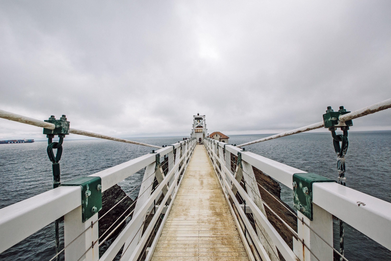 bridge, cloudy, ocean