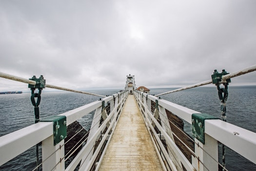Free stock photo of sea, cloudy, ocean, bridge