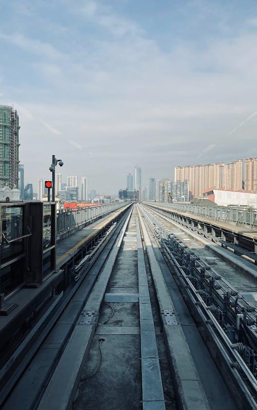 Gray Train Railway Across The City