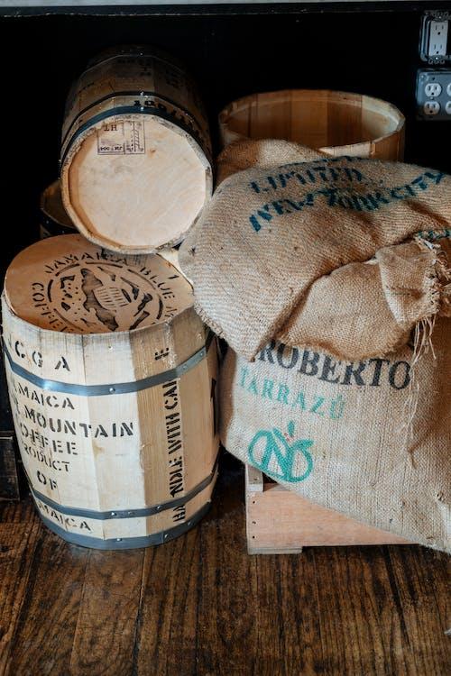 Wooden Barrels and Crate