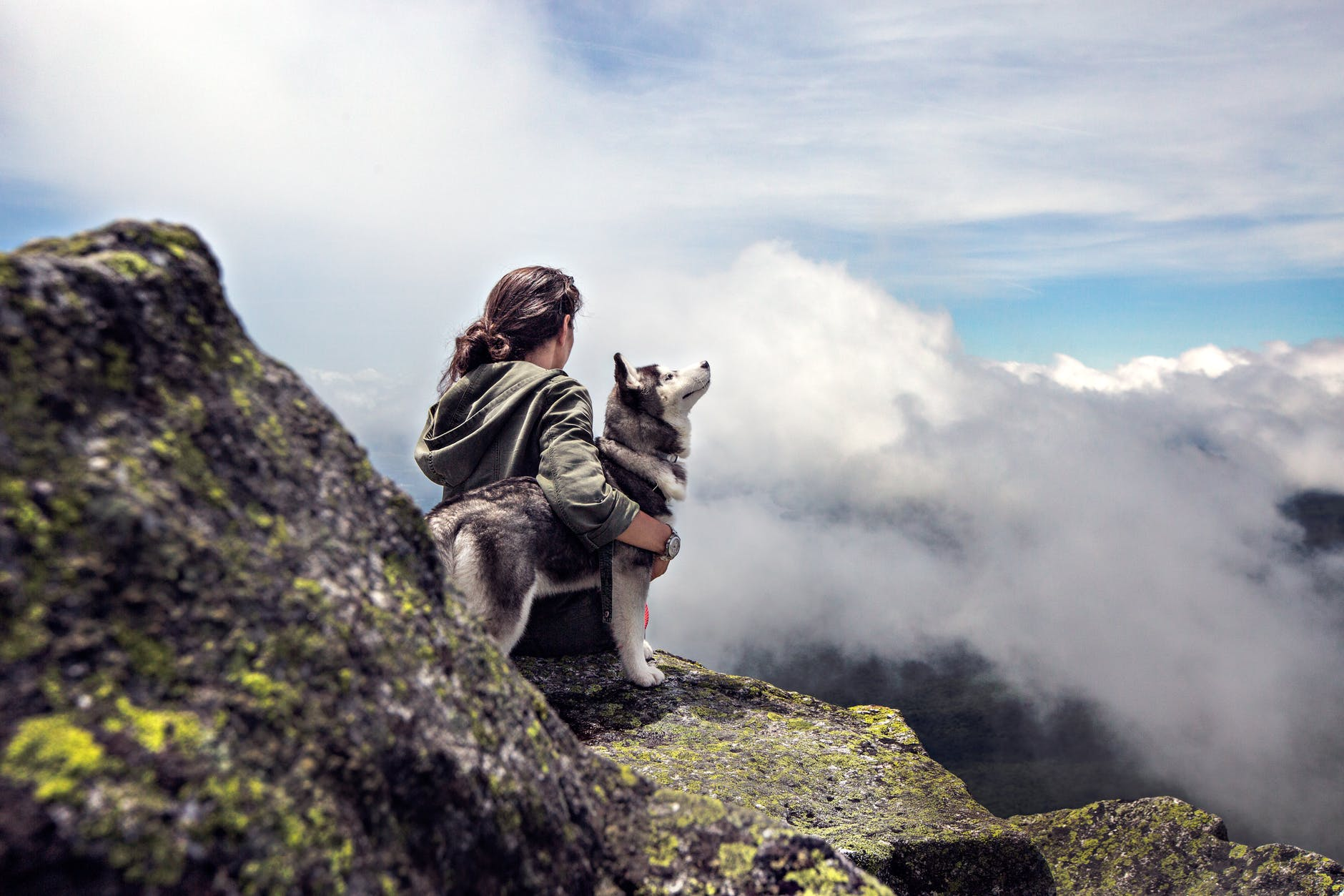 A woman beside her dog sitting on the gray rock mountain. | Photo: Pexels