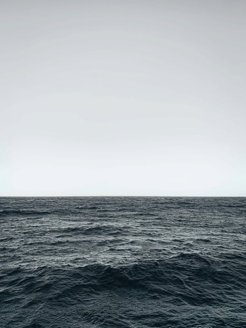 Cloudless sky over powerful waving ocean