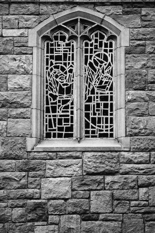 Grayscale Photo of Window Frame