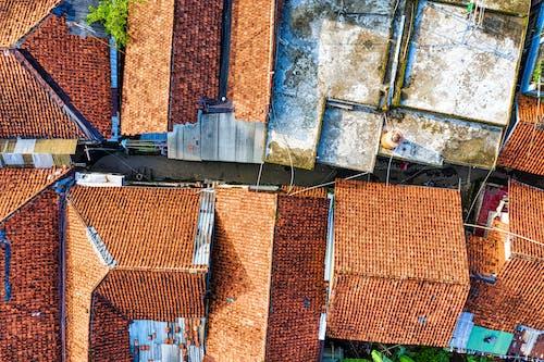 Brown Brick Roof on Aerial Shot