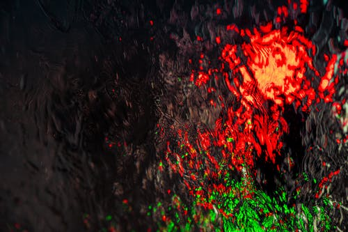 Red and Green Textured Painting