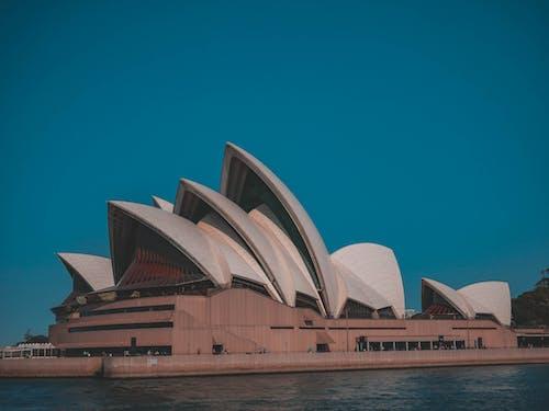 Free stock photo of opera house, Teal and orange