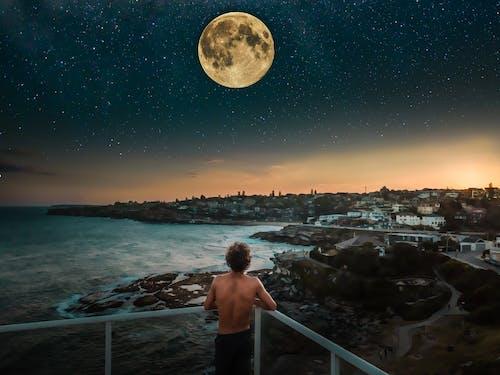 Free stock photo of abstract, beach, coast, full moon