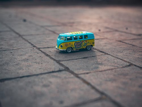 Blue and Yellow Bus Toy