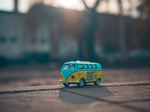 Miniature Yellow and Blue Volkswagen Toy