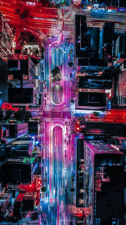 คลังภาพถ่ายฟรี ของ กลางคืน, จากข้างบน, ตัวเมือง