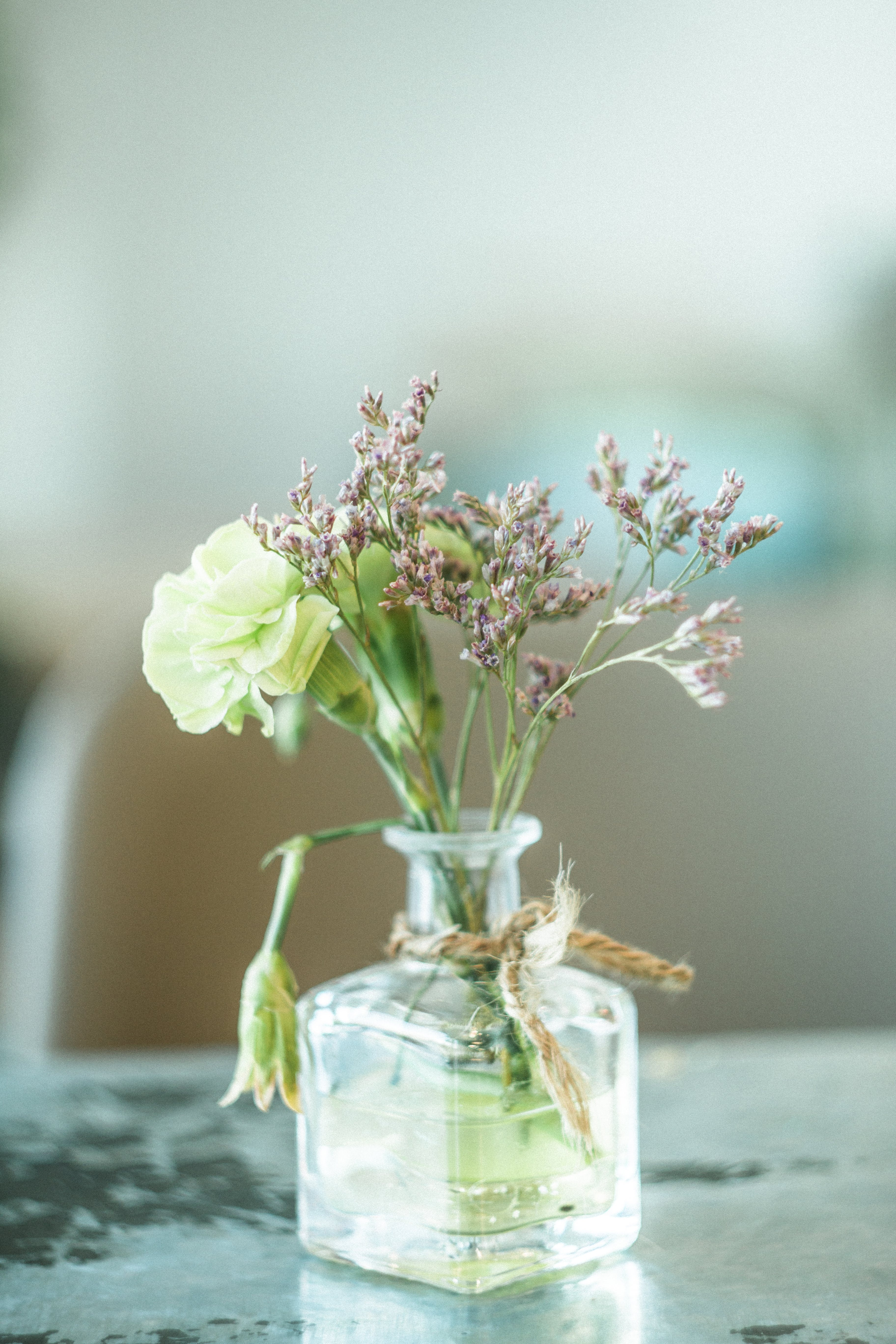 Green and Purple Petaled Flowers in Clear Glass Vase