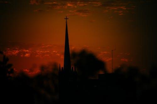 akşam gökyüzü, atardecer, bir uzunluk ölçüsü içeren Ücretsiz stok fotoğraf