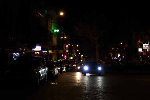 Free stock photo of street, night lights, low light