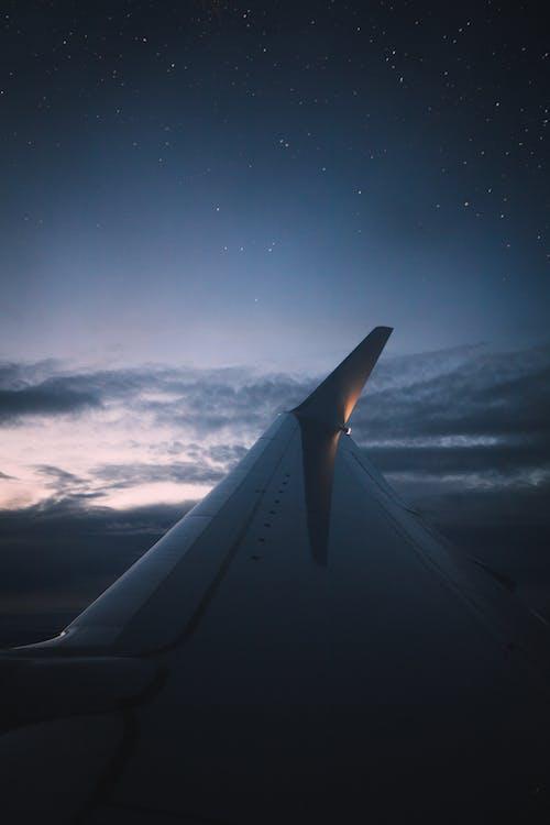 青い空の下の飛行機の翼