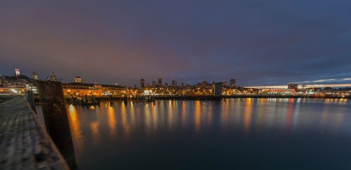 Free stock photo of light reflections, long exposure, night lights, water