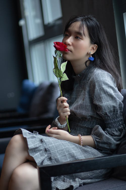 Woman in Gray and White Plaid Dress Holding A Red Rose