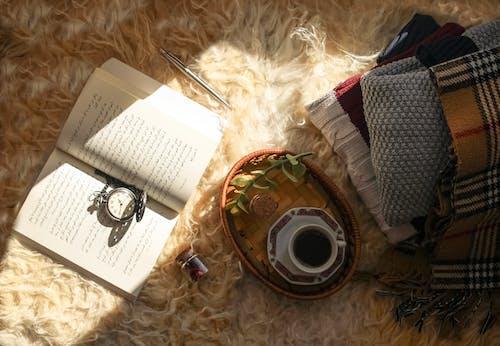 Tagebuch Und Kaffee Auf Haarigem Teppich