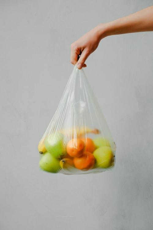 átlátszó műanyag, citrusfélék, élelmiszer