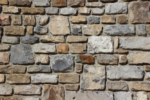 Gray Brown and Black Brick Stone Wall