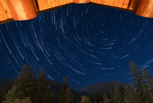 Time Lapse Photography of Stars Above Green Trees during Night Time