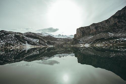 Mountain lake reflecting rough snowy cliffs