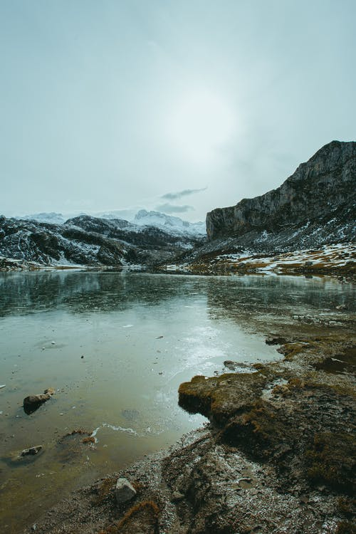Mountain lake on cold winter day