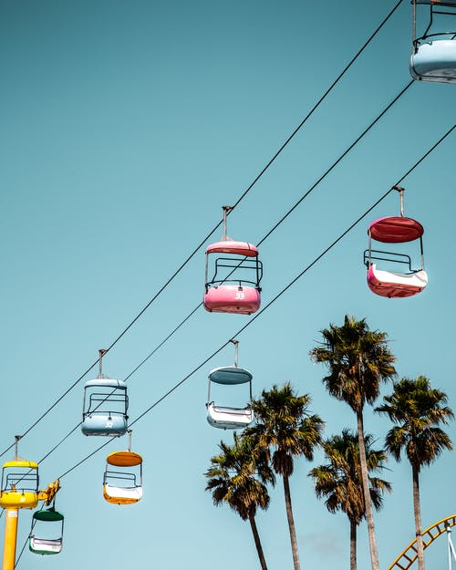 Red and White Cable Cars