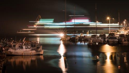 Ảnh lưu trữ miễn phí về cảnh đêm, chuyển động mờ, màu sáng, thuyền phà