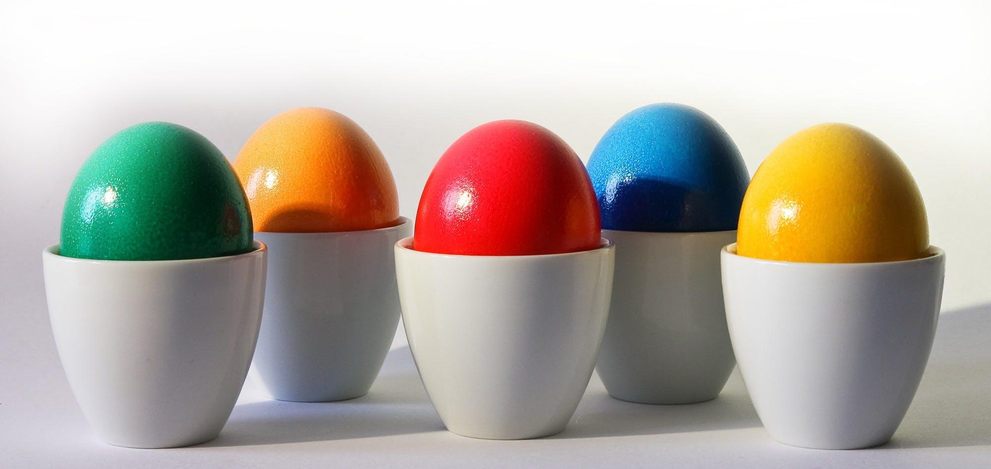Multicolored Egg Ornament on White Desk