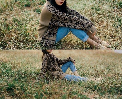 가을 기분, 긴 머리, 스웨터, 야외의 무료 스톡 사진