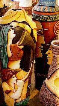 Free stock photo of vase, colored, decorative, artwork