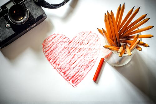 Free stock photo of drawing, heart, red