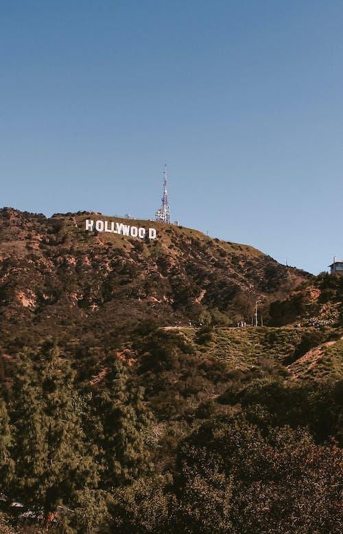 Segno Di Hollywood Su Brown Rocky Mountain Sotto Il Cielo Blu