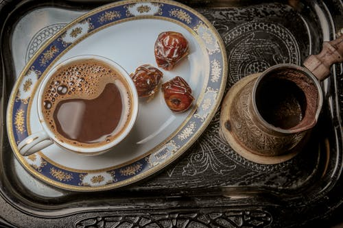 Cup Of Coffee With Dates On A Serving Tray