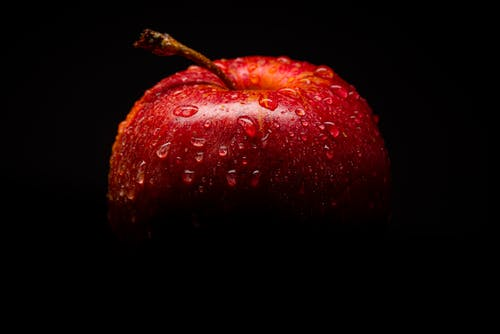 Red Apple Fruit With Black Background