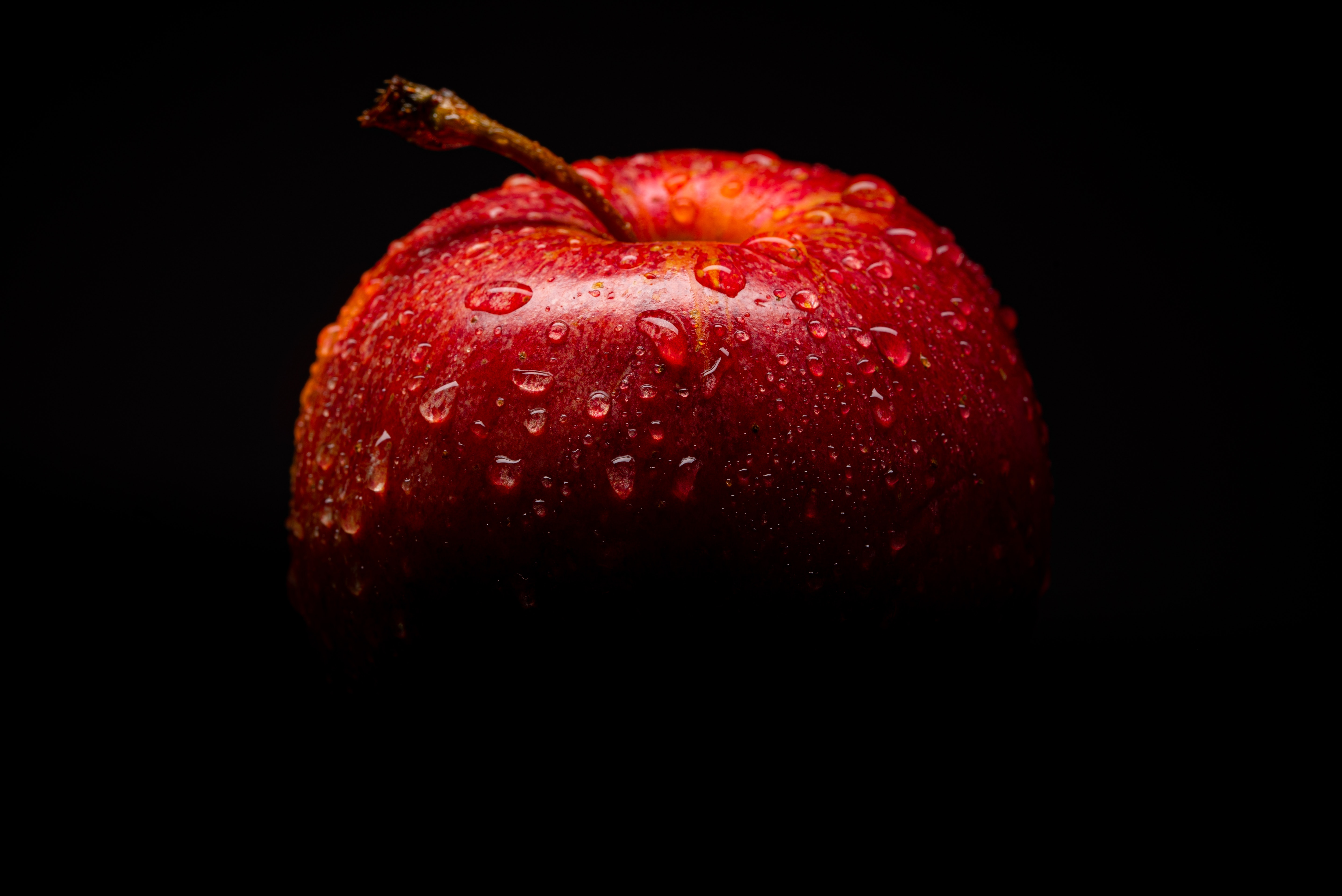 Red Apple Fruit With Black Background Free Stock Photo