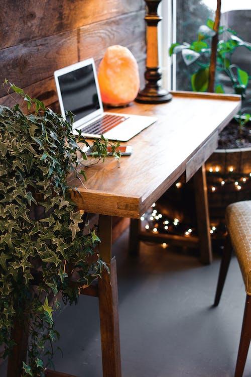 Himalayan Salt Lamp Near Laptop On Wooden Table