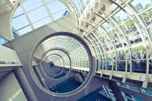 Free stock photo of arcitecture, convention center, san diego, windows