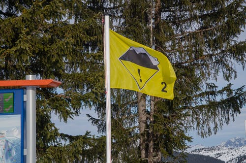 Free stock photo of chairlift, danger, flag, mountain