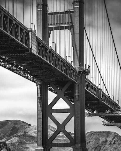 Free stock photo of black and white, california, golden bridge, golden gate