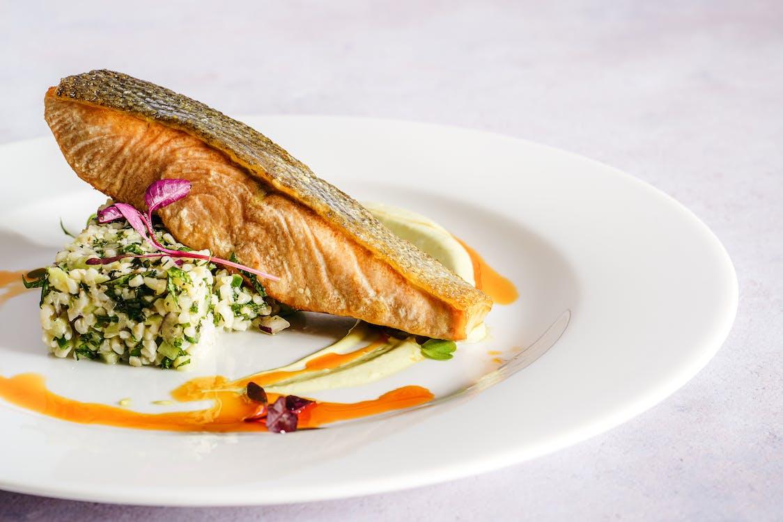 Salmon Dish on a Ceramic Plate