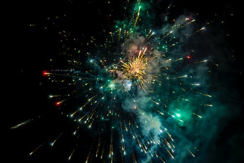 Green and Red Fireworks Display