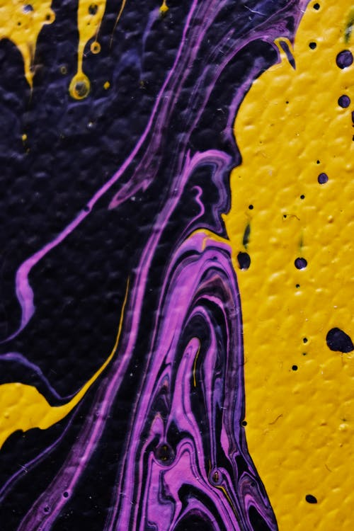 Yellow and Purple Abstract Painting